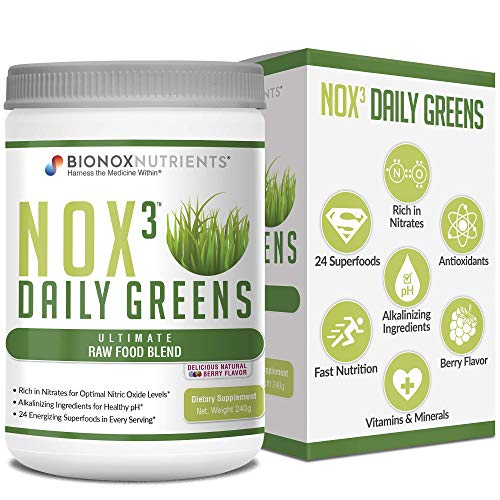 BioNox Nutrients Nox3 Daily Greens - Raw Superfood Mix - Great Taste - Keto Diet Friendly No Sugar - All Natural - Alkalinity and Nitric Oxide Booster - 1 Month Supply - 30 Scoop