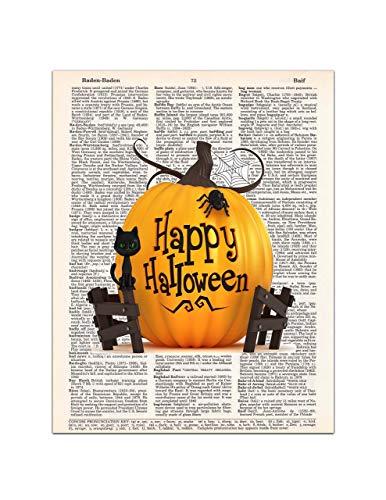 Happy Halloween - Pumpkin, Cat, Spider - Dictionary Page Art Print, 8x11 UNFRAMED