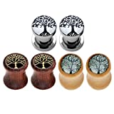 wood plugs 3 4 - JOVIVI 6pcs Tree of Life Stainless Steel Organic Wood Ear Tunnels Plugs Kit Expander Stretchers 0G-5/8
