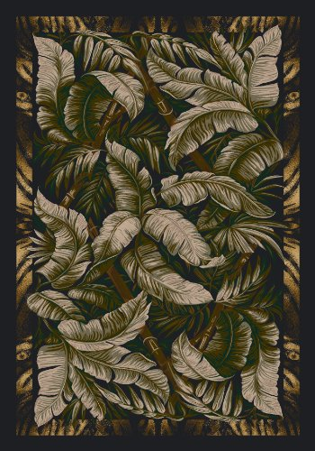 Milliken Floral Area Rugs - Signature Jungle Fever Ebony Sage Rug Rug Size: 5'4
