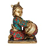 AapnoCraft Hindu God Baby Krishna statue Makhan Chor Sculpture Baby Idols Of Child Krishna Home & Office Decor Wedding Gifts