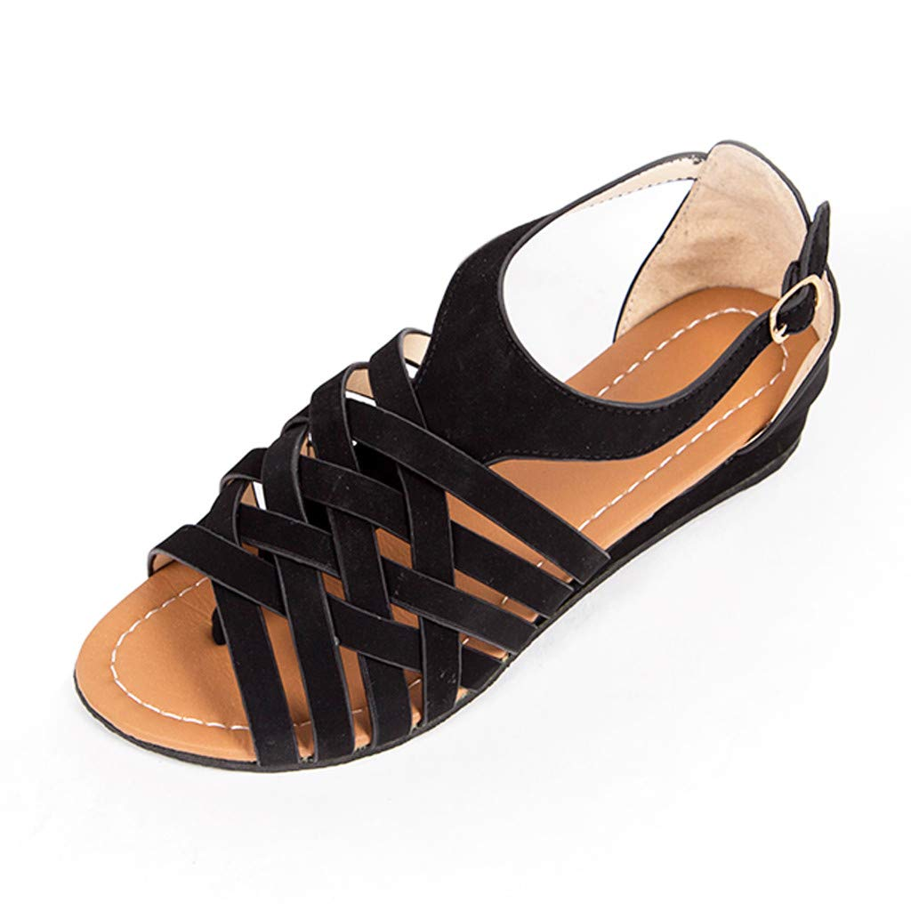 Respctful✿Women Gladiator Sandals Summer Non Slip Criss Cross Strap Flats Casual Thong Beach Flip Flop Shoes Black