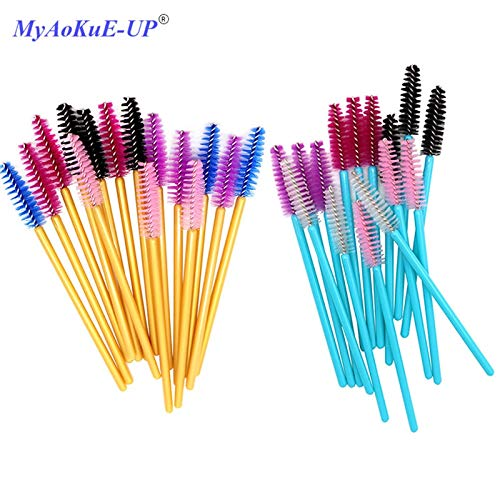 Best Quality - Makeup Brushes - Pcs/lot Disposable One-off 5 Mix Colors Nylon Mascara Wands Eyelash Extension Applicator Spoolers Makeup Brushes - by Olwen Shop by Olwen Shop (Image #1)