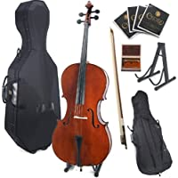 Cecilio CCO-200 Solid Wood Cello with Hard and Soft Case, Stand, Bow, Rosin, Bridge and Extra Set of Strings, Size 4/4 (Full Size)