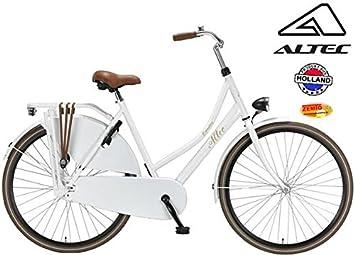 Bicicleta holandesa para mujer Altec 28 pulgadas de nieve Color Blanco 52 cm + freno de mano delantero): Amazon.es: Deportes y aire libre