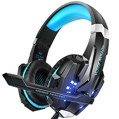 INSMART Gaming Headset, PS4 Headset with Noise Reduction, LED Light, Stereo Bass Surround, Soft Memory Earmuffs, Gaming Headphones with Mic for Laptop Mac Nintendo Switch Xbox One