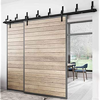 Amazon Com Diyhd 10ft N Shaped Bypass Double Sliding Barn Door Hardware Rustic Black
