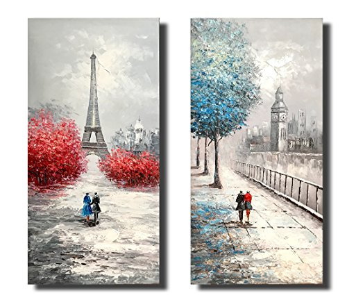 Paris Street View Eiffel Tower Street View 2 Piece 20x40 inches Linen Canvas Hand-Painted Oil Painting Gift Landscape Paintings for Living Room Bedroom Office Artwork Modern Home Decor