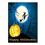 Happy Halloween Witch Pumpkin Jack o Lantern Castle Double Sided Garden Yard Flag 12'' x 18'', Winter Snow Moon Fall Festive Pumpkins Decorative Garden Flag Banner for Outdoor Home Decor Party