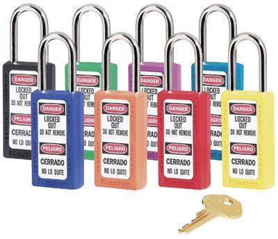 470-410RED - Non-Conductive Xenoy - No. 410 & 411 Lightweight Xenoy Safety Lockout Padlocks, Master Lock - Pack of 6 ()