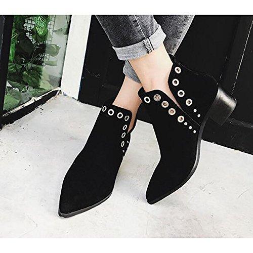 primavera Black botas Cuero botines botines botas Chunky Cuero Marrón Negro de Zapatos Casual mujer otoño HSXZ de Confort talón Moda Nubuck de Czqn1PZ