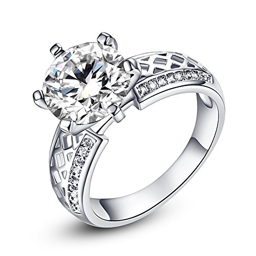 Psiroy 925 Sterling Silver Created White Topaz Filled Cocktail Solitaire Engagement Ring