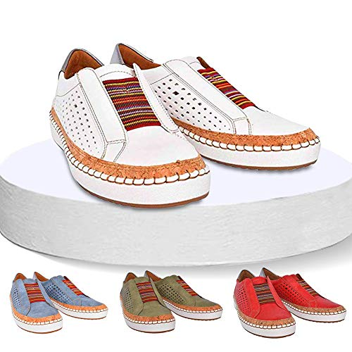 2019 New Slide Hollow-Out Round Toe Casual Women Sneakers,Breathable Slip On Flat Shoes for Woman 36 white
