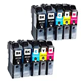 Ouguan Ink 10 PK Compatible Ink Cartridges for Brother LC203 LC-203 (4 Black, 2 Yellow, 2 Magenta, 2 Cyan) for Multifunction Printers MFC-J4320DW, MFC-J4420DW, MFC-J4620DW, MFC-J5620DW, MFC-J5720DW
