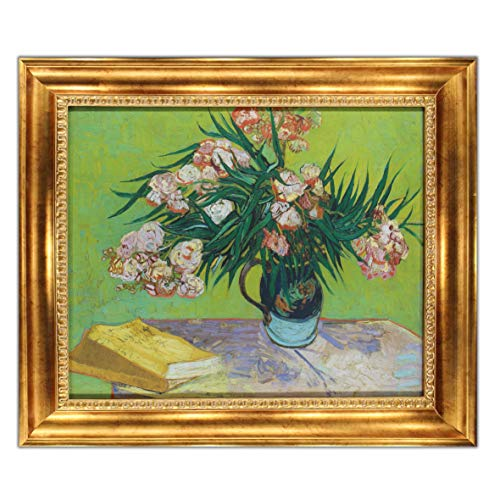 Majolica Jar with Branches of Oleander by Vincent Van Gogh, Oil Painting Print on Museum Quality Canvas, with Victorian Gold Frame, Size 29