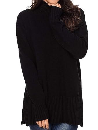 e94b0e08647c2 Mordenmiss Women s High Neck Sweater Casual Pullover Knitwear Shirt ...