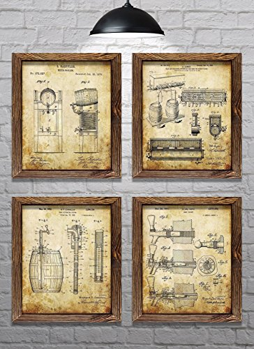 Gifts for Beer Drinkers! - Vintage Beer Themed Patents - Set of Four - 8