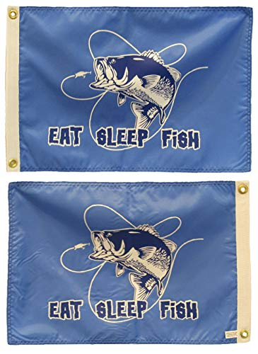 - ALBATROS 12 in x 18 in Eat Sleep Fish Bass Fishing Blue Double Sided Nylon Flag for Home and Parades, Official Party, All Weather Indoors Outdoors