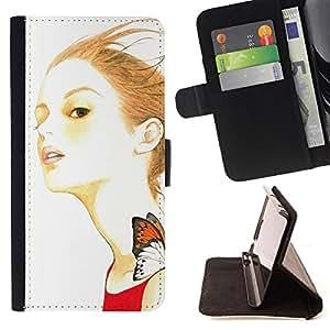 BullDog Case - FOR/Samsung Galaxy Note 4 IV / - / butterfly girl ginger red hair dress nature /- Monedero de cuero de la PU Llevar cubierta de la caja con el ID Credit Card Slots Flip funda de cuer