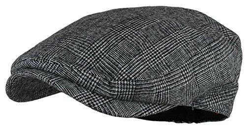 Men's Herringbone Wool Tweed Newsboy Ivy Cabbie Driving Hat
