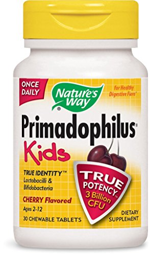Nature's Way Primadophilus for Kids, Cherry, 30 Count Chewables (Pack of (Kids Cherry)