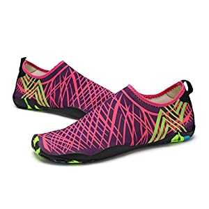 KEALUX Men Women Barefoot Quick-Dry Water Sports Shoes Multifunctional Sneakers with Drainage Holes for Swim, Walking, Yoga, Lake, Beach, Garden, Park, Driving, Boating (pink)