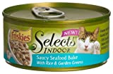 Friskies Selects Indoor Cat Food, Saucy Seafood Bake with Rice and Garden Greens, 5.5-Ounce Cans (Pack of 24), My Pet Supplies