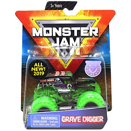 Grave Digger Green Tires Monster Jam with Figure & Poster