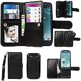 xhorizon Premium Leather Folio Case [Wallet Function] [Magnetic Detachable] Fashion Wristlet Purse Soft Flip Multiple Card Slots Case Cover ZA5 for Samsung Galaxy S3 (I9300) - Black