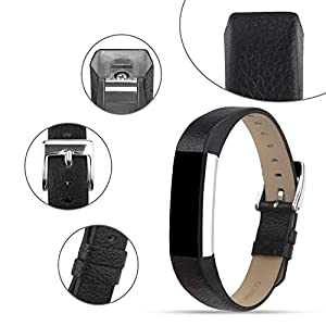 For Fitbit Alta Bands/Fitbit Alta HR Bands, Genuine Leather Replacement Bands for Fitbit Alta/Fitbit Alta HR Black