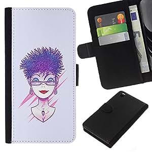 NEECELL GIFT forCITY // Billetera de cuero Caso Cubierta de protección Carcasa / Leather Wallet Case for HTC DESIRE 816 // Púrpura pelo de la mujer
