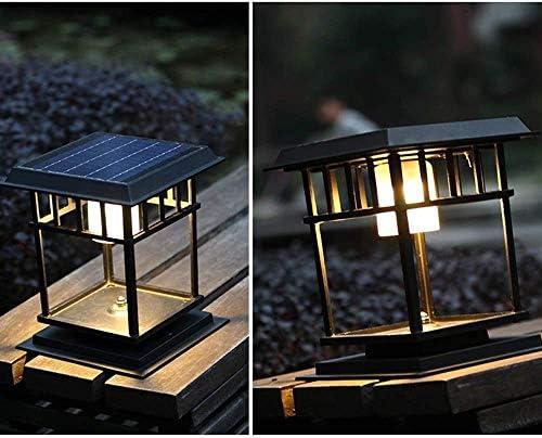 Zhangl Aluminium Outdoor Pillar Light Solar Column Light Square Modern Garden Landscape Post Lantern Waterproof Lawn External Table Lamp LED in Black Finish