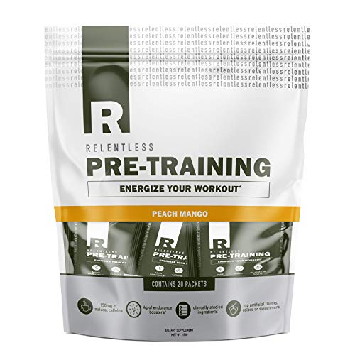 Pre Workout Powder Packets by Live Relentless Nutrition - Pre-Training Supplement with Creatine, Beta Alanine, and Natural Caffeine (Peach Mango, 20 Individual Packets)