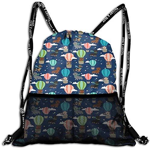 Girls Boys Drawstring Bag Theft Proof Lightweight Beam Backpack, Gym Sackpack - Dachshund Hot Air Balloon Dogs Waterproof Backpack Soccer Basketball Bag -