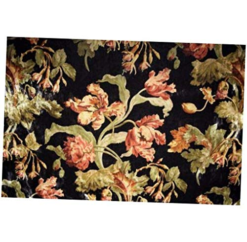 - Fabric by The Yard Brown Suede Velvet Upholstery Vintage Printed Plush Floral Microfiber Fabric 55