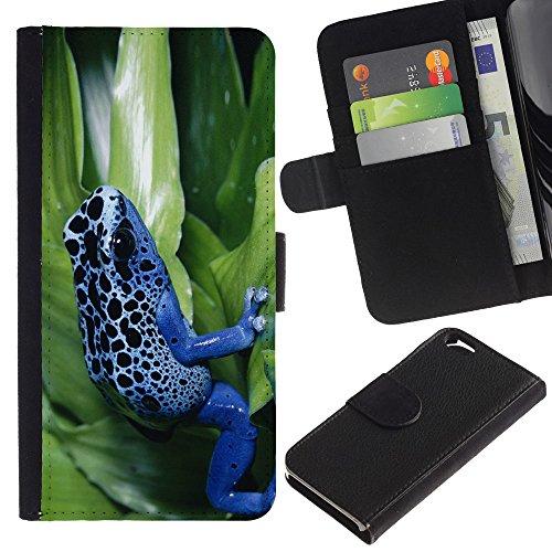 EuroCase - Apple Iphone 6 4.7 - Cool Neon Blue Jungle Frog - Cuir PU Coverture Shell Armure Coque Coq Cas Etui Housse Case Cover