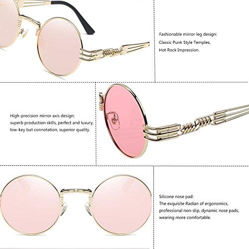 Sunlasses Vintage Women Gold Pink Steampunk Spring Frame Driving Black Frame Frame Round Lens Polarized Metal Gold TEMPO Glasses for Men with Lens Frame and ZxwRFtq