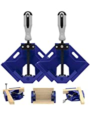 TAIWAIN 4pcs Right Angle Clamp, 90 Degree Corner Clamp Vice Grip Woodworking Quick Fixture Tool, Aluminum Alloy Corner Welding Clamps Holder Adjustable Swing Jaw Corner Clamp