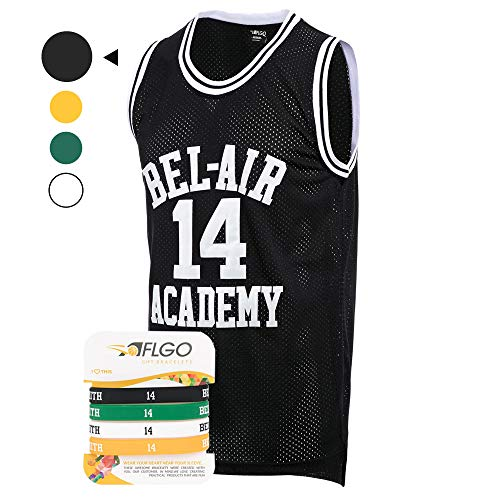 AFLGO Fresh Prince of Bel Air #14 Basketball Jersey S-XXXL - 90's Clothing Throwback Will Smith Costume Athletic Apparel Clothing Top Bonus Combo Set with Wristbands (Black, X-Large)