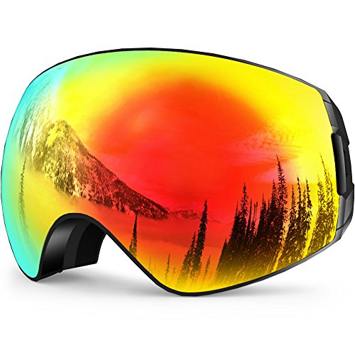 ZIONOR X7 Ski Snowboard Goggles with UV Protection Anti fog OTG Spherical Lens Anti slip Strap for Men Women