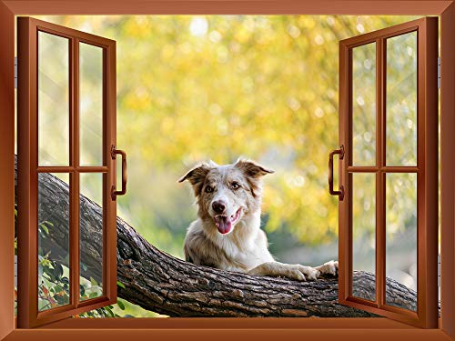 A Dog Resting by a Tree Branch outside of an Open Window Removable Wall Sticker Wall Mural