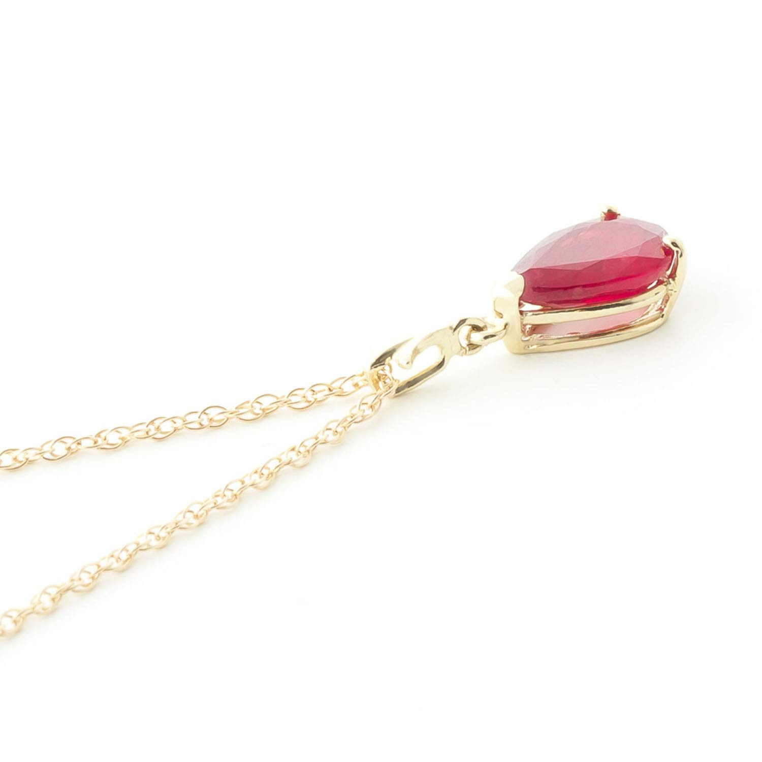 Galaxy Gold 1.75 Carat 14k 18'' Solid Gold Natural Pear-shaped Ruby Drop Pendant Necklace by Galaxy Gold (Image #3)
