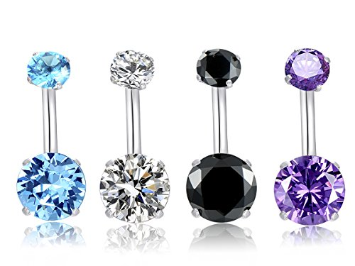 MO SI YI 14G Surgical Steel Belly Button Rings Round Cubic Zirconia Navel Barbell Stud Body Piercing for Women Girls (A:4 Pcs Clear+Blue+Purple+Black) (Steel Surgical Bars Belly)
