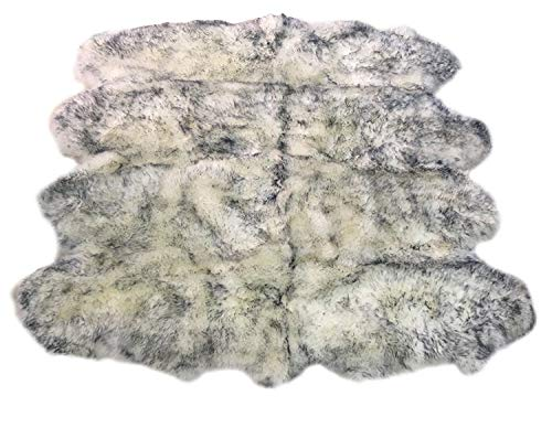 Octo Sheepskin Rugs - Longfeng Genuine Sheepskin Rug White Gray Octo Pelt Natural Fur - Sheepskin Rug Pad for Bedroom Living Room (Octo/6ft x 7.5ft, White/Gray)