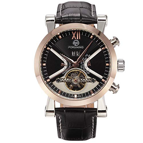AdaAda Silver Shell Rose Gold Ring Black Face Black Belt Tourbillon Mechanical Watch ()