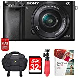"Sony Alpha a6000 Mirrorless Digital Camera with 16-50mm Lens (ILCE6000L/B) w/32GB Deluxe Bundle Includes, Digital Camera Padded Carrying Case +12"" Rubberized Spider Tripod + 32GB SDHC Memory Card"