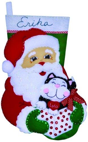 Christmas Kittens Stocking - Tobin Santa and Kitten Stocking Felt Applique Kit, 16-Inch Long