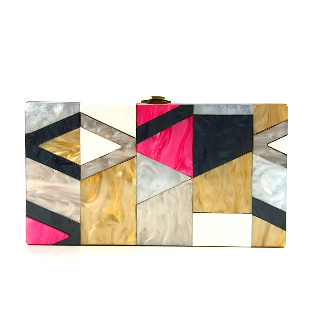 Evening clutch purses for women new luxury geometric patterns color acrylic evening bags formal wild crossbody bag
