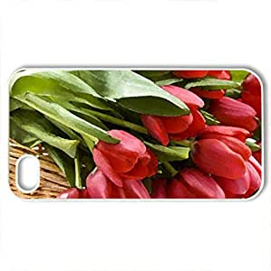 Basket ofred tulips - Case Cover for iPhone 4 and 4s (Flowers Series, Watercolor style, White)