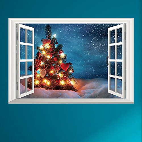 Christmas Tree Window Wall Decal